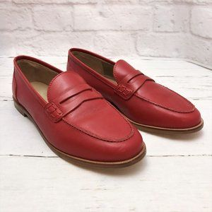 NEW J.Crew Red Leather Ryan Penny Loafer 7